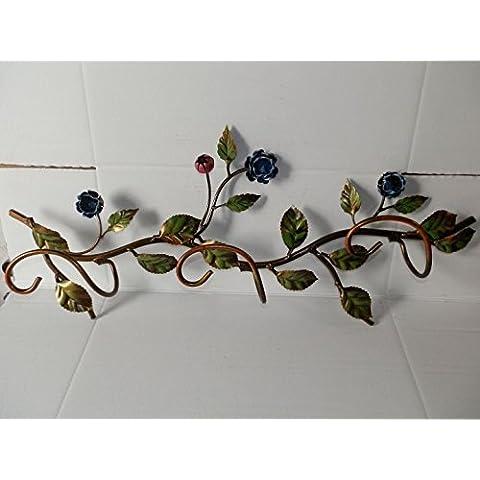 Attacappanni Perchero de hierro forjado, diseño de rosas de pared enchufes 3 orificios, color azul