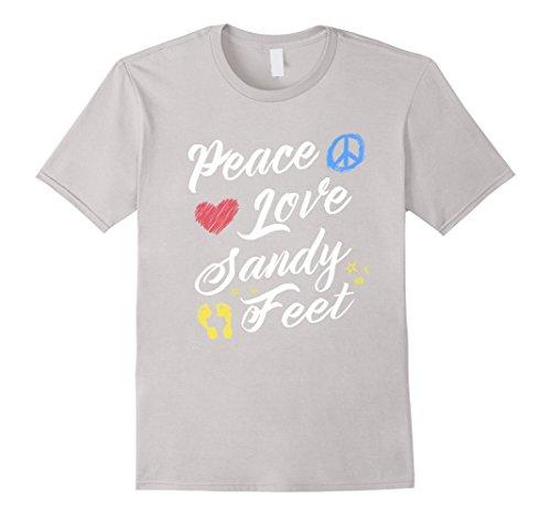 beach-lover-tees-peace-love-sandy-feet-t-shirt-herren-gre-2xl-silber