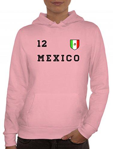 ShirtStreet Mexico Fußball WM Fanfest Gruppen Damen Hoodie Frauen Kapuzenpullover Trikot Mexiko, Größe: L,rosa