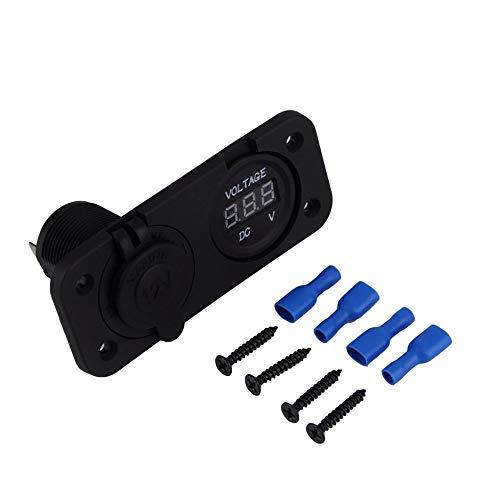 Sen-Sen 12V LED wasserdichte Steckdose Voltmeter Schalttafeleinbau Marine Voltmeter schwarz Panel-mount-voltmeter
