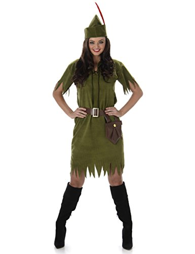 Robin Hood Neverland Girl Ladies Fancy Dress Medieval Book Adults Womens (Für Fancy Kostüme Erwachsene Dress Fairy)