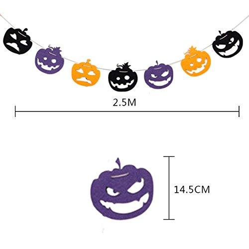 Doitsa 1pcs Wimpel banner Halloween decoration bunting Vliesstoffe Kürbis Wimpeln für Laden,Hotel, Schule Dekoration und 2.5M (Halloween Bunting)