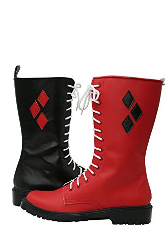Halloween Cosplay Stiefel Boots Rot Schwarz PU Leather Schuhe Shoes Karneval Fancy Dress for Damen (Fancy Dress Boots)