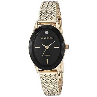 Anne Klein Reloj de Pulsera de Malla de Tono Dorado con Esfera de Diamante Genuino para Mujer