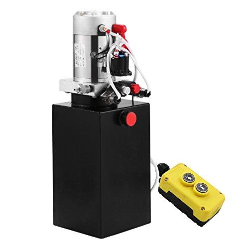 HODOY Pompa Idraulica Hydraulic Pump 12V DC Doppia Azione con Serbatoio d'Acciaio per Elevatore (8L)