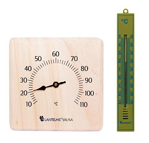 Lantelme 6350 Saunazubehörset Sauna und Badezimmerthermometer - Saunazubehör Set mit Saunathermometer und Badezimmer Thermometer Analog