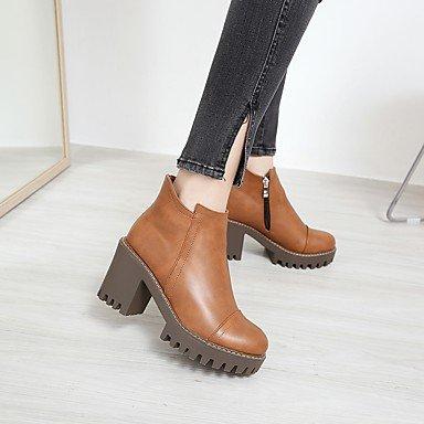 Rtry Femmes Chaussures Pu Automne Hiver Confort Bottes Chunky Talon Tour Toe Zipper Pour Bureau Extérieur Et Amp; Carrière Khaki Noir Marron Us5.5 / Eu36 / Uk3.5 / Cn35