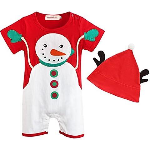 iEFiEL Pelele de Navidad Fiesta Muñeca de Nieve para Bebé Niña Niño con Gorro Mono Infantil