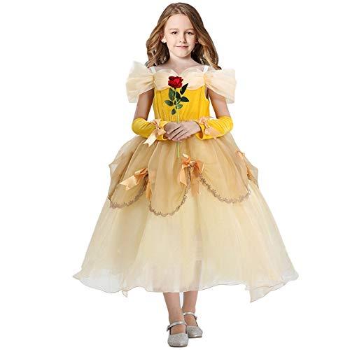 Casibecks Prinzessin Belle Dress Up für Mädchen Schönheit und Das Biest Kostüm Kinder mit roter Rose Gelb Kleinkind Outfits für Halloween-Party Baby Girl Kostüm 3T 4T