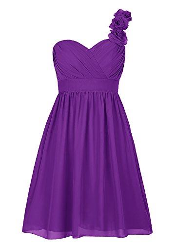 Dresstells, Épaule asymétrique robe courte de demoiselle d'honneur avec fleur, col en cœur Pourpre