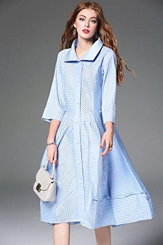 Yyd@ abito da donna largo taglie forti giaccone pieghettato gonna siamese,blue,l