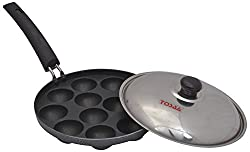 Tosaa Non stick 12 cavity appam patra with Lid, 21 cm