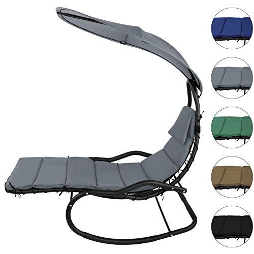 BB Sport Schaukelliege Schwingliege Schwebeliege mit Sonnendach ergonomische Liegefläche 200 x 70 cm inkl. Polsterauflage, Armauflagen und Kopfkissen