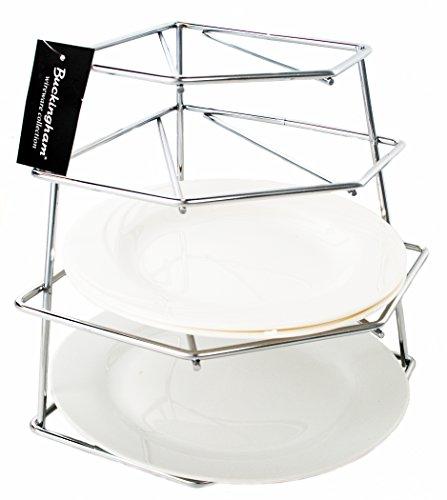 Buckingham 4Tier esquina cocina armario organizador, Rack de almacenamiento, ahorro de espacio plated-premium calidad, acero, cromo, 23x 23x 26cm