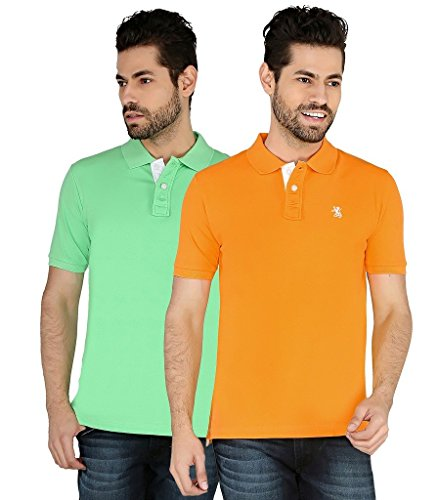 The Cotton Company Luxury Solid Polo Tshirt For Men (pack Of 2) - Dk Orange & Green