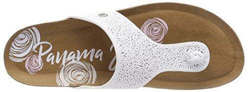 PANAMA JACK Damen quinoa Roses Zehentrenner Weiß (Blanco)