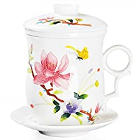 Chinese Teaware White Porcelain Bone Tea Cups Tea Mug (With Lid) Colored Butterfly