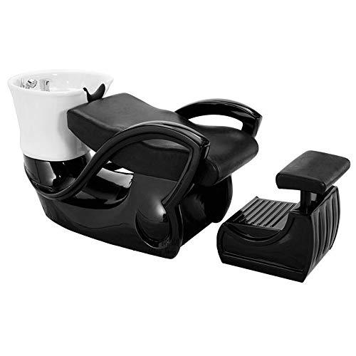 Einfach Shampoo-becken (DNNAL Waschbecken, Backwash Unit Shampoo Bowl Hairdressing Sink Stuhl für Spa-Salon-Ausrüstung keramisches tiefes Becken-Shampoo-Bett,Black)