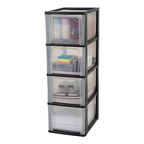 Iris Organizer Chest OCH-2400 Schubladencontainer-/ schrank, Kunststoff, schwarz / transparent, 35,5 x 26 x 80 cm