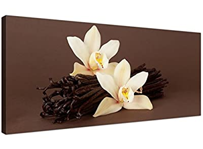 Large Brown Canvas Pictures of White Orchids and Vanilla Pods - Cheap Floral Wall Art - 1121 - Wallfillers®