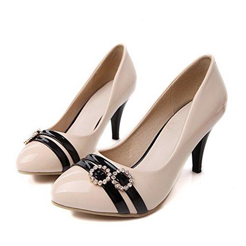 AgooLar Femme Couleurs Mélangées PU Cuir Stylet Rond Tire Chaussures Légeres Abricot