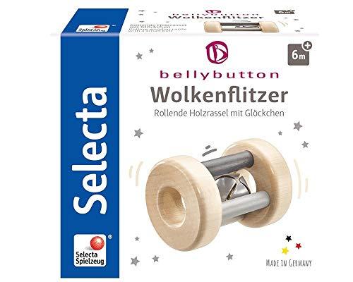 Selecta 64003 Wolkenflitzer, Greifling und Rassel - bellybutton, grau, 7 cm