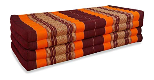 """Klappmatratze \""""extrabreit\"""" (195cm x 110cm) aus Kapok, faltbare Gästematratze, klappbare Matratze, asiatische Faltmatratze (orange)"""