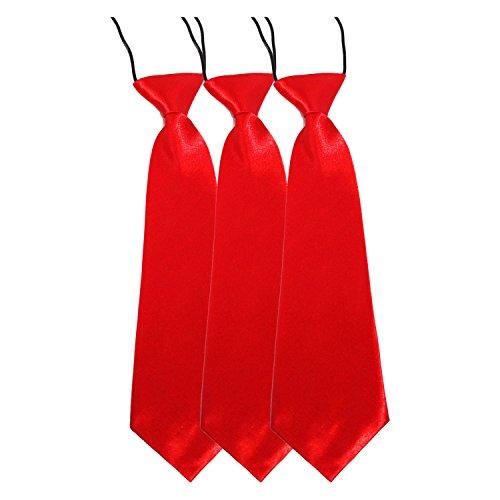 Cravate pour enfant Rouge Satin élastique pour l'école/de bal/de mariage Rouge - 3 Ties