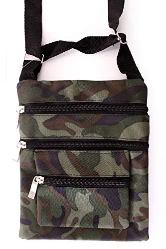 shoperama Camouflage Umhängetasche Reißverschlüsse Schultertasche Handtasche Kostüm-Zubehör Tasche Soldat Militär Armee Army grün