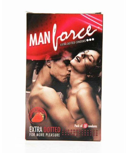 Manforce Man Force Extra Dotted Condoms Strawberry Flavoured