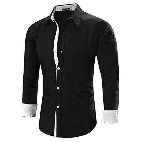 Men's Camisa Masculina Long Sleeve Slim Fit Casual Shirts Black White