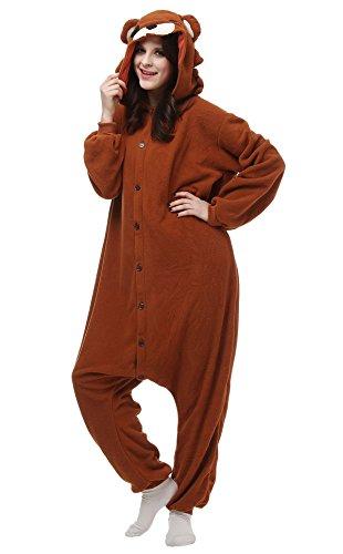 Schlafanzug Pyjama Fasching Halloween Kostüm Sleepsuit Jumpsuits Erwachsene Unisex Kigurumi Cosplay Fleece-Overall Tieroutfit - Braun Bär (Bär Kostüm Für Halloween)