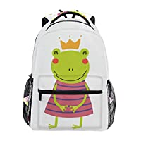 BKEOY Backpacks Funny Cartoon Frog Girl School Book Bag Travel Hiking Camping Daypack