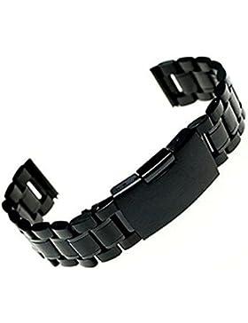 Clode® Uhrenarmbänder Edelstahl Silber Uhrarmband Uhren Band; Metall Uhr Armband(Schwarz)