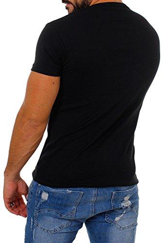 Young & Rich Herren Uni feinripp T-Shirt mit Knopfleiste & tiefem Ausschnitt deep V-Neck einfarbig big buttons große Knöpfe 1872 Schwarz