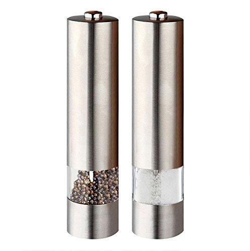 PDR Edelstahl Elektronisches Leuchtendes Salz & Pfeffer Mühlen Set (Paar) mit Verstellbarerm Mahlwerk