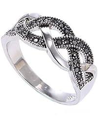Vintage Wave Ring 18K White Gold Plated Black Crystal Twist - Choose a Colour
