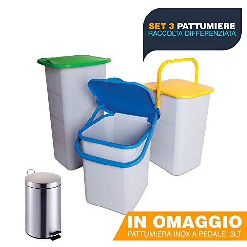 Buystar set 3 pattumiere chiuse per raccolta differenziata con coperchio antirandagismo + omaggio pattumiera inox a pedale 3 lt (18 lt)
