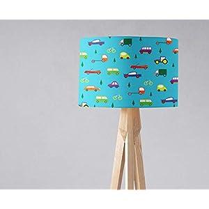 Blauer Lampenschirm mit Autos, Jungen-Kinderzimmerlampe