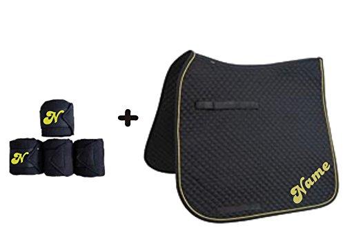 Schabracke mit WUNSCHNAME und passenden Bandagen Dressur oder Vielseitigkeit (Schwarz, D mit Bandagen)