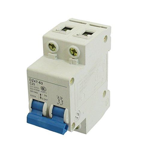 TOOGOO (R) DZ47-63 C25 25A 230/ 400V AC 6000A Schaltleistung 2 Pole Leistungsschalter - Pole Leistungsschalter