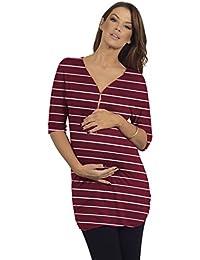 Frauen Schwangerschafts Tunika Oberteil Reißverschluss vorn mit V-Ausschnitt 3/4 Ärmel mit Rüschen