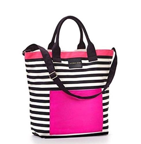 victoria-s-secret-rosa-blanco-y-negro-diseno-de-rayas-playa-bolso