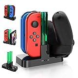 Caricatore per Switch, Gifort Stazionamento di Ricarica per Nintendo Switch Joy-Con Pro Controller, 4 in 1 Caricabatterie Dock Con Indicatore LED e Type-C USB Porta