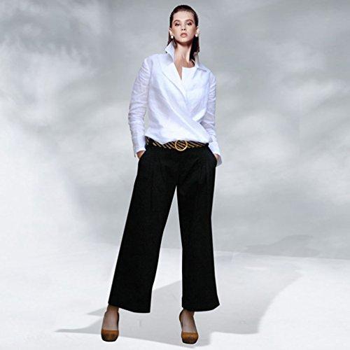 YuanDian Femme Automne et Hiver Baggy Grandes tailles Classique Droit Pantalons Hiver Jambe Large Noir