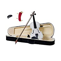 Solid Wood Satin Antique Violin with Hard Case, Shoulder Rest, Bow and Practice Mute - Pearl White