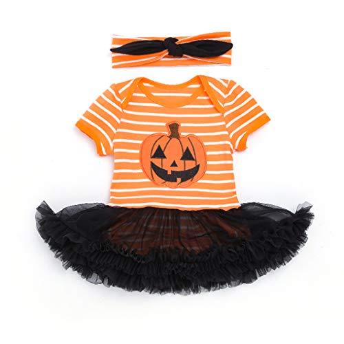 Junecat 2ST Neugeborenes Baby-Spielanzug-Kleid mit Stirnband Halloween Foto-Stütze