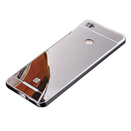 AMFIN For Xiaomi Redmi 3S Prime Luxury Mirror Aluminium Metal Bumper Back Cover Case For Redmi 3S Prime Mirror Back Cover - Silver