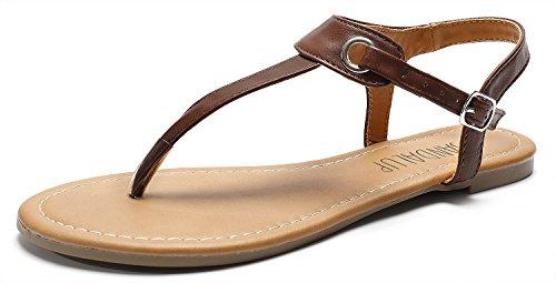 SANDALUP Flache Sandalen mit Metallschnalle für Damen,  Braun,  38 EU (5 UK) -