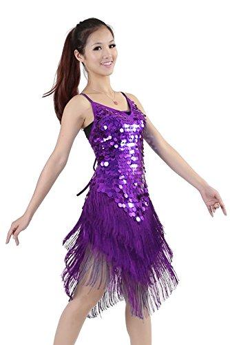 Cha Kostüm Dance - XFentech Damen Pailletten Quaste Rückenfreies Kleid Einstellbare Latin Dance Cha-Cha Ballsaal Leistung Spiel Kostüme (Lila)